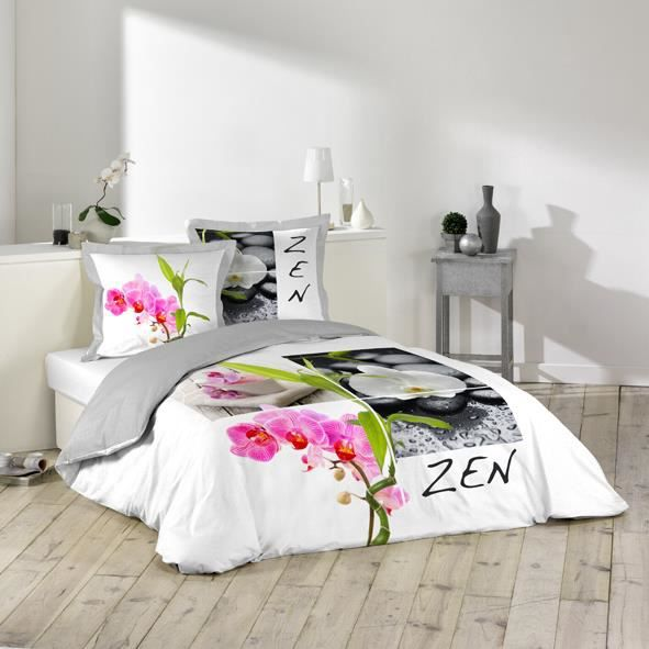 housse couette 220 x 240 cm taies zen fleur d achat vente housse de couette cdiscount. Black Bedroom Furniture Sets. Home Design Ideas