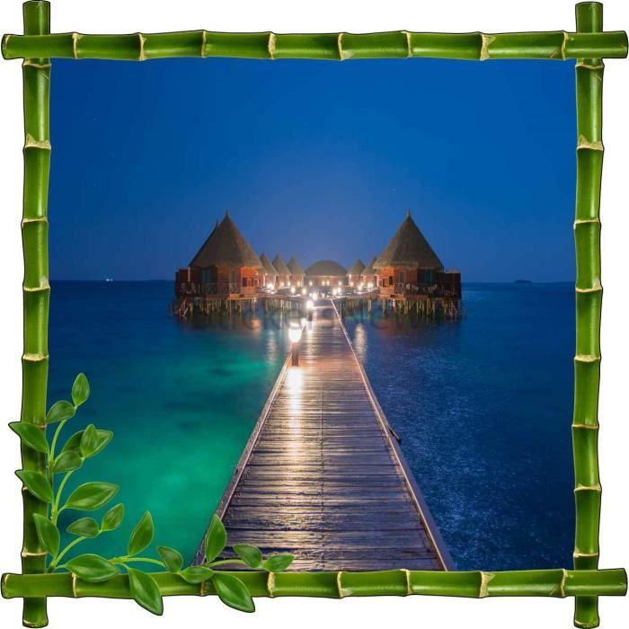 Sticker autocollant cadre bambou maisons sur pilotis for Autocollant decoratif maison