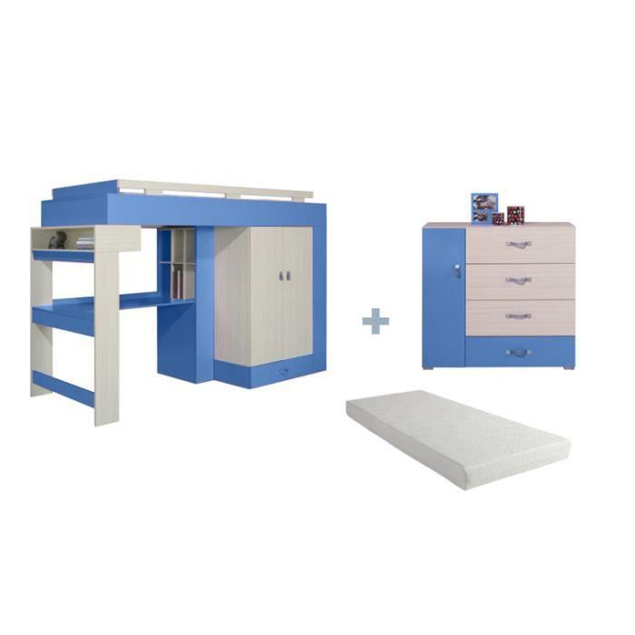 Lit combine bureau et armoire axel avec matelas et commode for Armoire et lit adulte