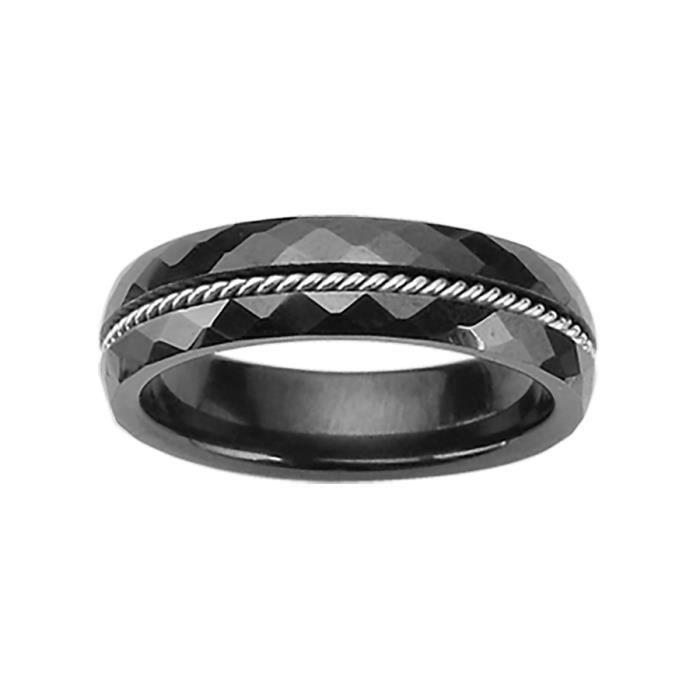 alliance homme femme ceramique acier 5mm noire achat vente bague anneau alliance homme. Black Bedroom Furniture Sets. Home Design Ideas