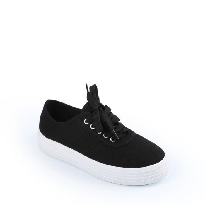 baskets en toile plateforme pa noir blanc noir blanc achat vente basket cdiscount. Black Bedroom Furniture Sets. Home Design Ideas