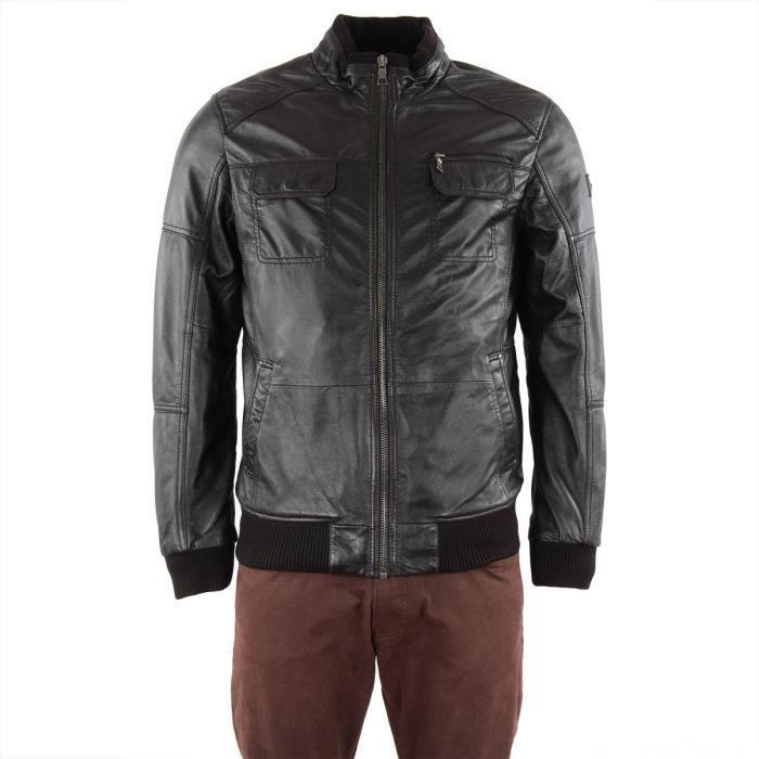 blouson cuir noir homme mac douglas marron chocolat. Black Bedroom Furniture Sets. Home Design Ideas