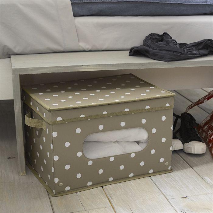bo te rangement cie pvc beige pois blancs 75l achat vente boite de rangement pvc. Black Bedroom Furniture Sets. Home Design Ideas