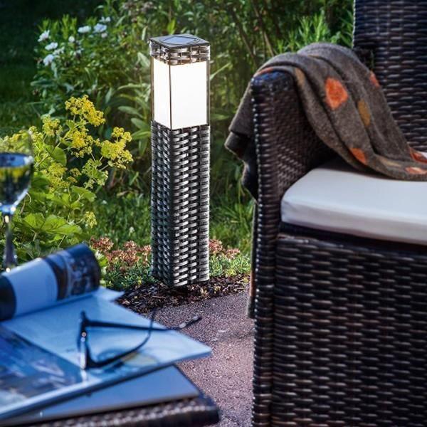 Borne solaire en rotin brun fonc achat vente borne solaire en rotin brun - Bornes solaires jardin ...