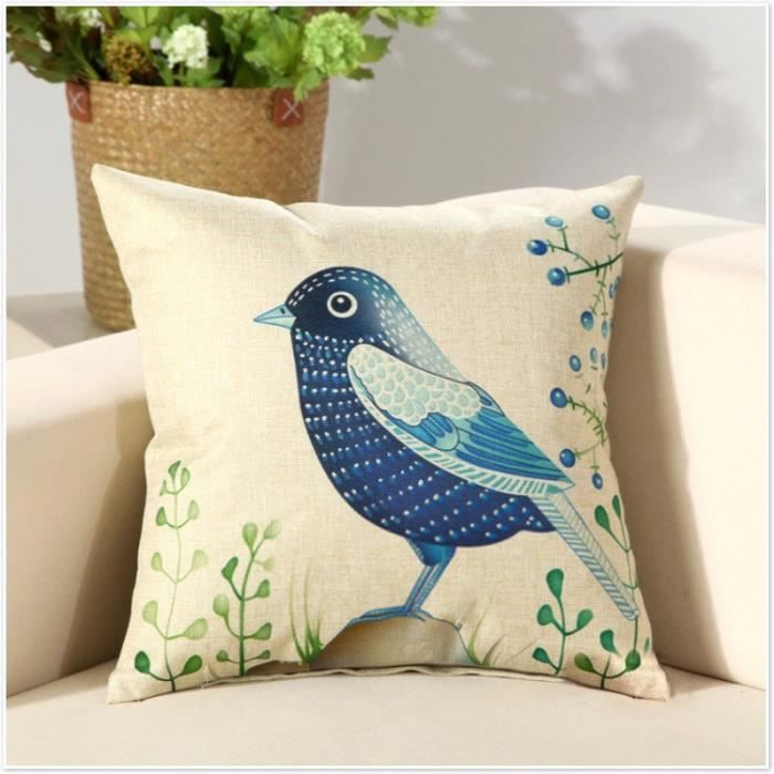 Housses de coussin 45x45 cm motif d 39 oiseau achat vente housse de coussin les soldes sur - Housse de coussin 45x45 ...