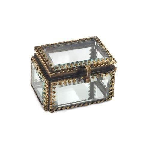 boite rectangulaire metal et verre 8 cm achat vente boite de rangement cdiscount. Black Bedroom Furniture Sets. Home Design Ideas