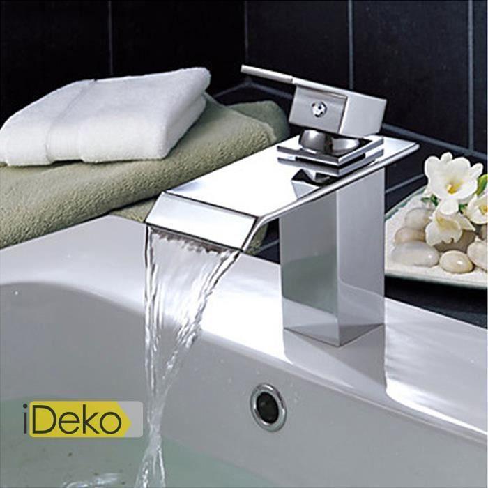 ideko robinet mitigeur lavabo laiton contemporaine robinet d 39 vier cascade salle de bains. Black Bedroom Furniture Sets. Home Design Ideas