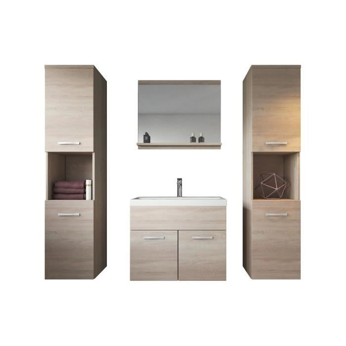 meuble de salle de bain de montr al xl 60 cm bassin en bois ch ne clair sonoma armoire de. Black Bedroom Furniture Sets. Home Design Ideas