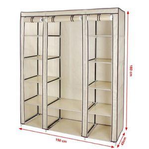 armoire penderie 150 x 45 x 180 cm achat vente armoire. Black Bedroom Furniture Sets. Home Design Ideas