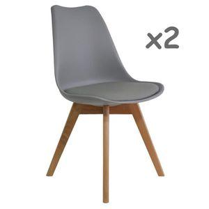 CHAISE Lot de 2 chaises style Tulip pieds bois - assise r
