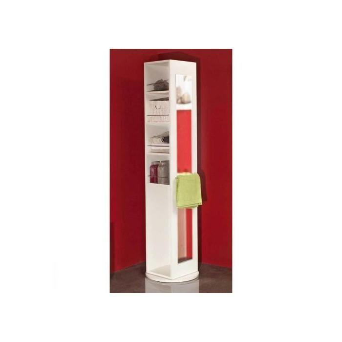 Colonne pivotante salle de bain 5 niches 1 miroir blanc achat vente col - Colonne salle de bain miroir ...