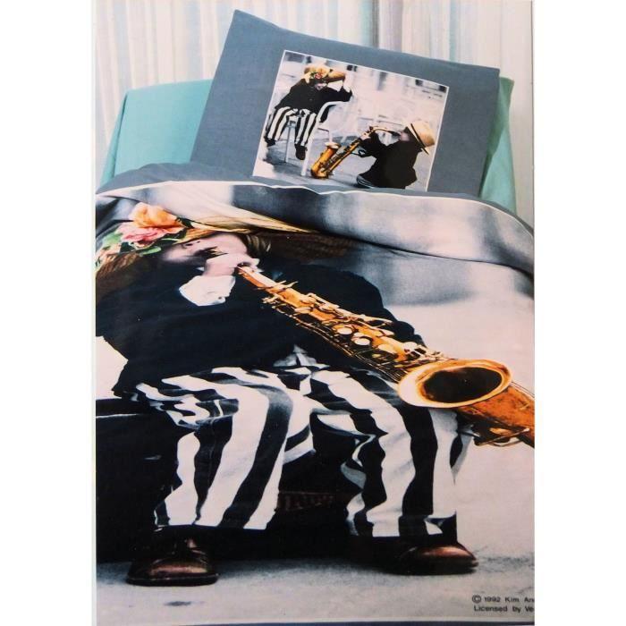 parure housse de couette taie enfant joue du saxophone 1 place achat vente housse de. Black Bedroom Furniture Sets. Home Design Ideas