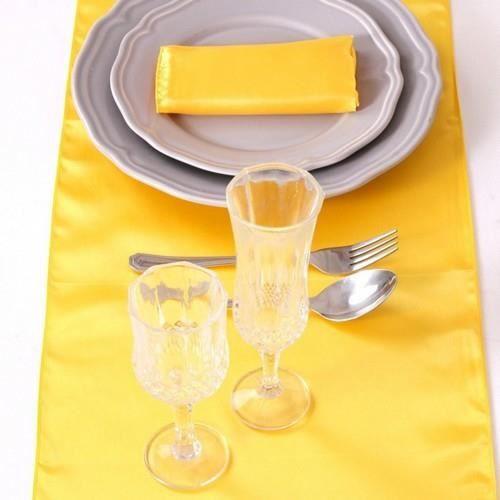 5 chemins de table mariage satin jaune achat vente for Chemin de table jaune
