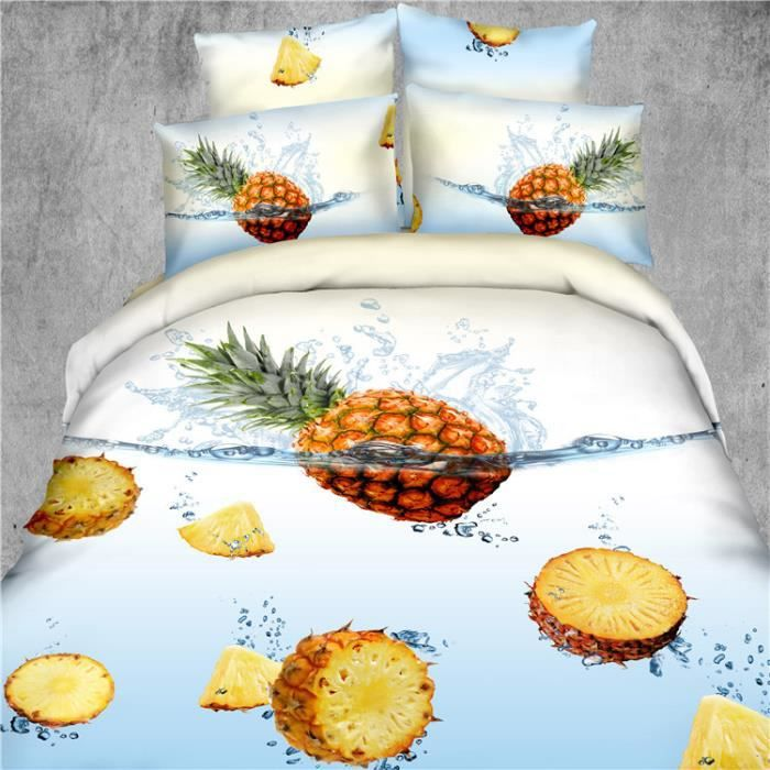 parure de couette 3d effet 4 piece 200 x 230 cm ananas. Black Bedroom Furniture Sets. Home Design Ideas