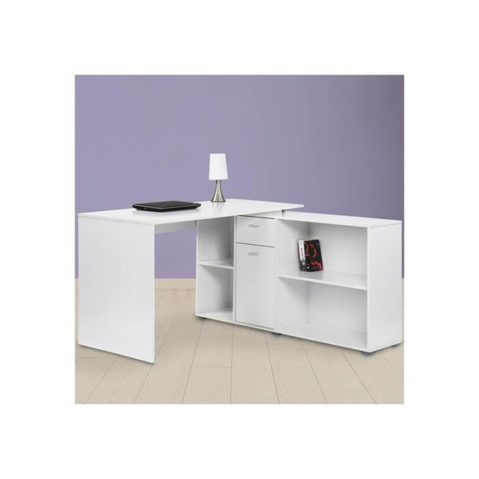bureau d 39 angle blanc achat vente bureau bureau d 39 angle blanc cdiscount. Black Bedroom Furniture Sets. Home Design Ideas