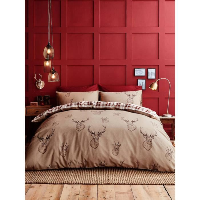 Catherine lansfield parure de lit double en coton avec for Housse de couette de montagne