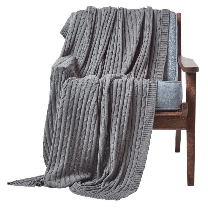 Jet de lit ou de canap 100 coton torsad naturel 150 x for Jete de canape coton