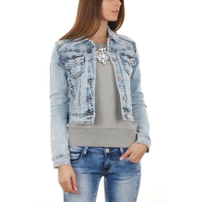 veste en jean d lav femme bleu achat vente veste. Black Bedroom Furniture Sets. Home Design Ideas