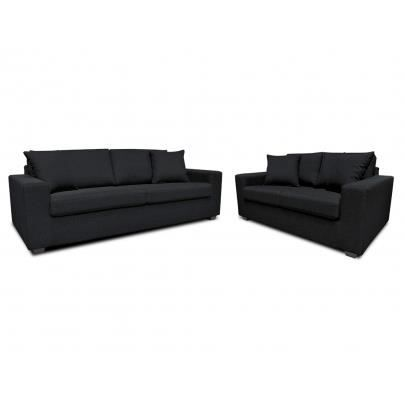 Canap 3 2 places en tissu yudo noir achat vente canap sofa divan - Canape 3 2 places tissu ...