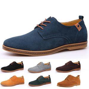 ESPADRILLE En cuir véritable hommes lacets chaussures flat...