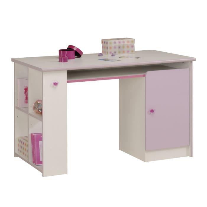 Ladys bureau 121 cm d cor blanc et parme achat vente bureau ladys bureau 121 cm panneaux de for Bureau fille 5 ans