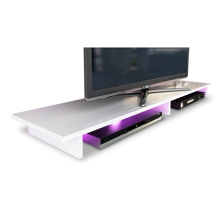 Tag re pour tv blanc 139 cm achat vente meuble tv for Etagere sous tv