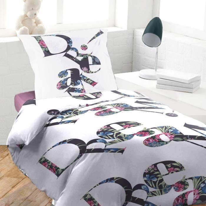 housse de couette 140 x 200 cm taie dream blanc achat vente housse de couette. Black Bedroom Furniture Sets. Home Design Ideas