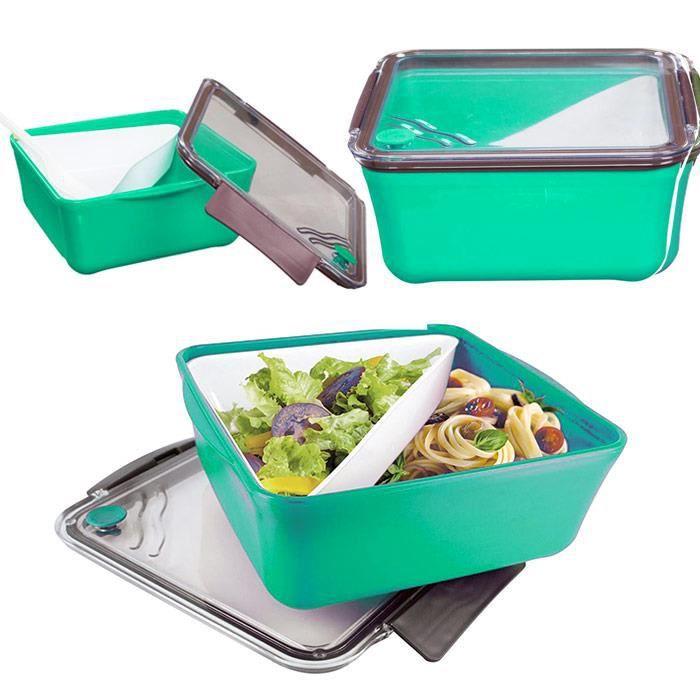 boite repas lunch box compartiment amovible fourchette vert achat vente lunch box. Black Bedroom Furniture Sets. Home Design Ideas