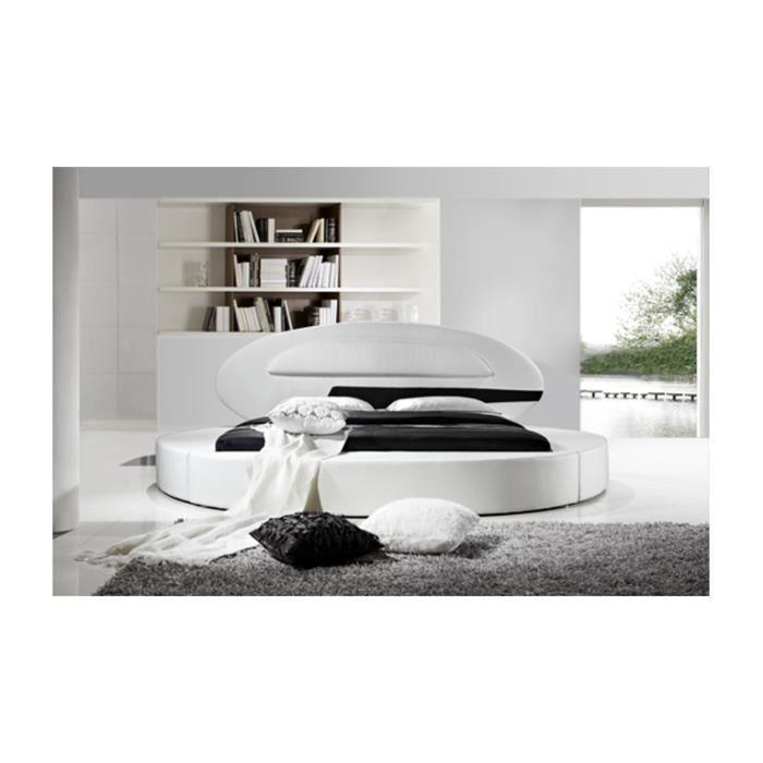 lit rond design planet en cuir 200 x 200 cm achat vente lit complet lit rond design planet. Black Bedroom Furniture Sets. Home Design Ideas