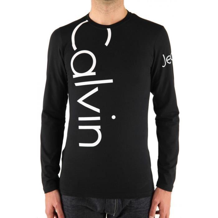 T shirt calvin klein jeans manche longue homme noir et - Tee shirt manche longue calvin klein ...