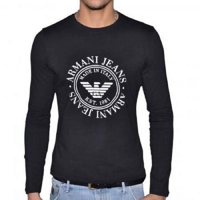 armani jeans tee shirt armani jeans homme manches longues t6h43 noir noir achat vente t. Black Bedroom Furniture Sets. Home Design Ideas