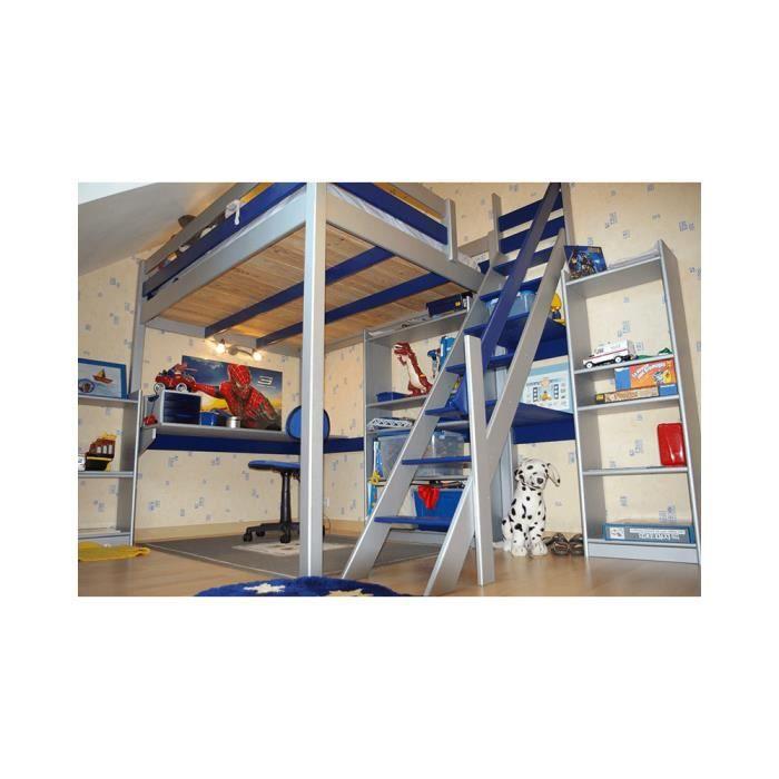lit mezzanine sylvia avec escalier de meunier bois 3760240540557 achat vente lit mezzanine. Black Bedroom Furniture Sets. Home Design Ideas