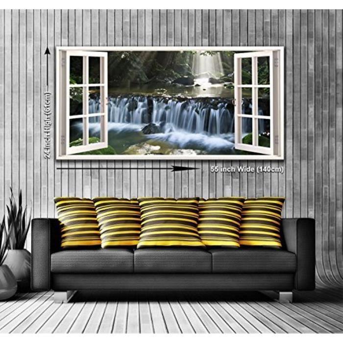 tranquille en cascade chute d eau vue depuis une fen tre. Black Bedroom Furniture Sets. Home Design Ideas