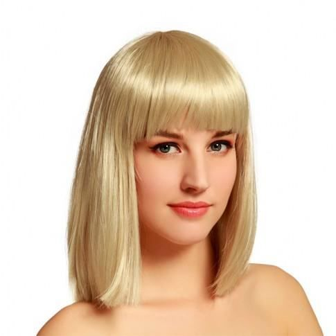 Perruque carr mi long blond et frange couleur achat vente perruque postiche perruque - Carre mi long frange ...