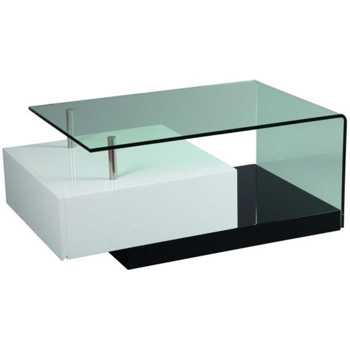Table basse en mdf laqu blanc et noir achat vente table bass - Table basse laque noir et blanc ...