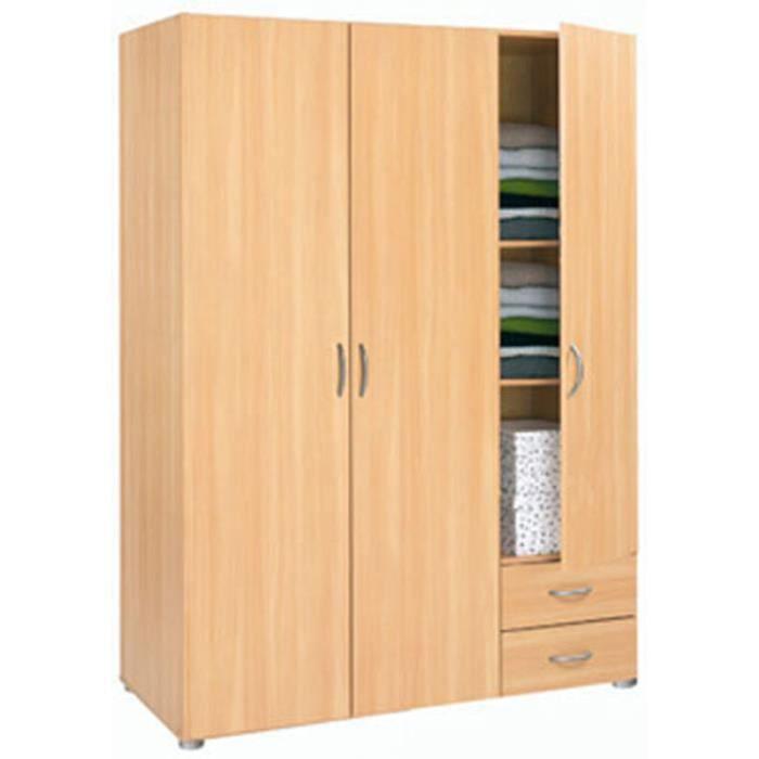 armoire avec 3 portes 2 tiroirs coloris h tre essentiel. Black Bedroom Furniture Sets. Home Design Ideas