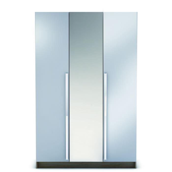 Vegas armoire 3 portes 1 miroir 120cm ch ne blanc achat - Armoire chambre 120 cm largeur ...