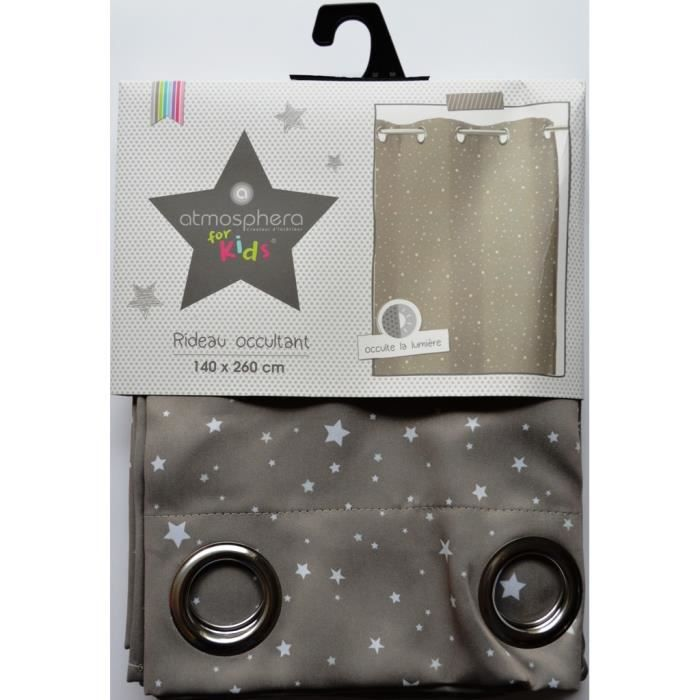 Rideau occultant taupe toil pour chambre enfant achat for Rideau pour chambre enfant