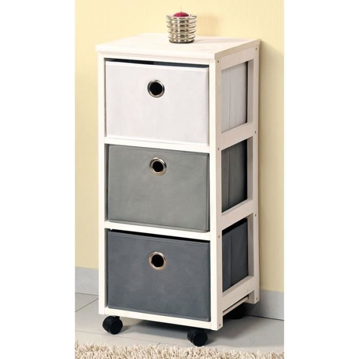 commode en bois avec 3 paniers blanc et gris meuble de rangement roulettes achat vente. Black Bedroom Furniture Sets. Home Design Ideas
