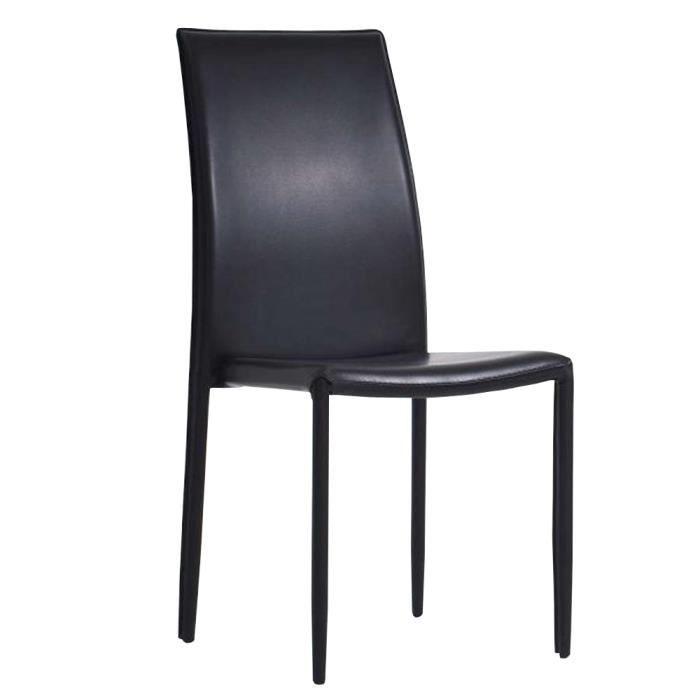 chaise de salle manger empilable noir en similicuir dim. Black Bedroom Furniture Sets. Home Design Ideas