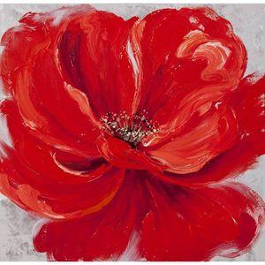 Tableau Déco Toile Petal Red Zoom - 80x80cm