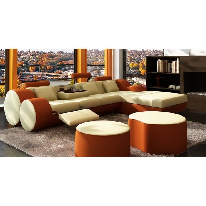 Canap d 39 angle relax cuir beige et orange mari achat vente canap s - Canape d angle cuir beige ...
