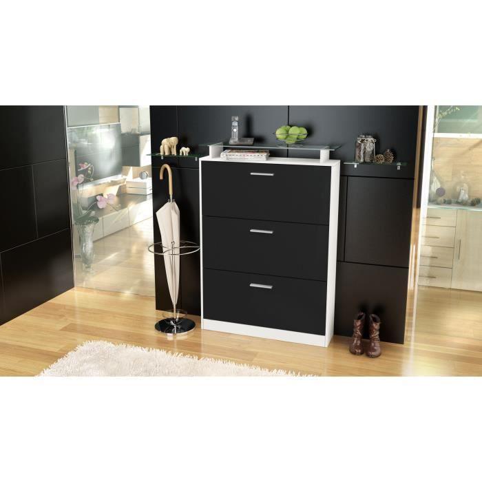 armoire chaussures 24 paires blanc et noir mat achat vente meuble chaussures range. Black Bedroom Furniture Sets. Home Design Ideas