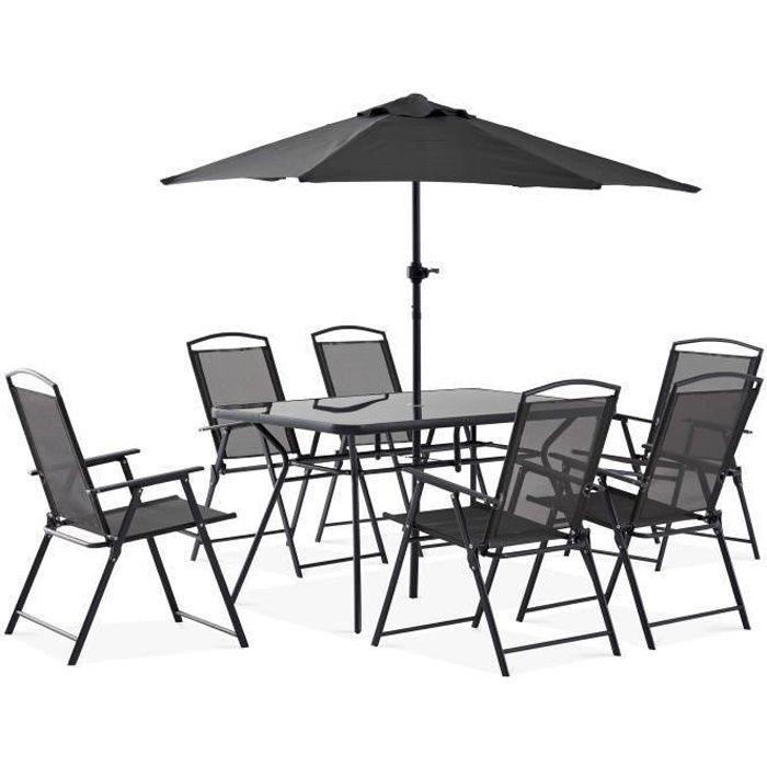 Table de jardin avec parasol achat vente table de for Ensemble de salon complet