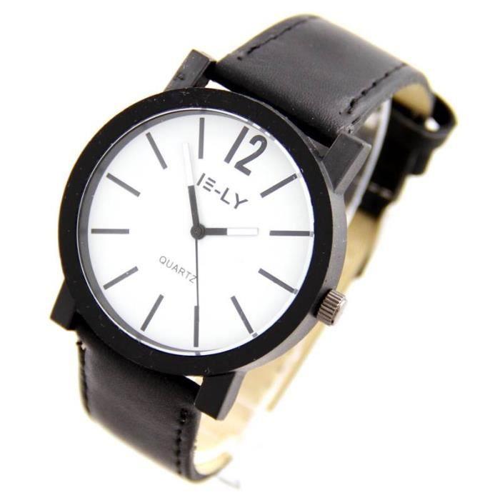 montre pas ch re homme cuir noir 2853 achat vente montre bracelet. Black Bedroom Furniture Sets. Home Design Ideas