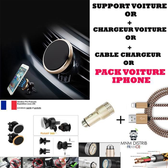 mnm distrib iphone pack voiture chargeur avec support. Black Bedroom Furniture Sets. Home Design Ideas