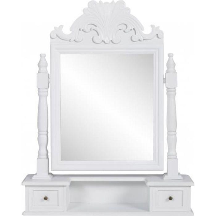 coiffeuse en bois avec 2 tiroirs et miroir pivotan achat. Black Bedroom Furniture Sets. Home Design Ideas