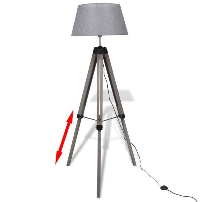 lampadaires lampadaire trepied en bois reglable avec abat. Black Bedroom Furniture Sets. Home Design Ideas
