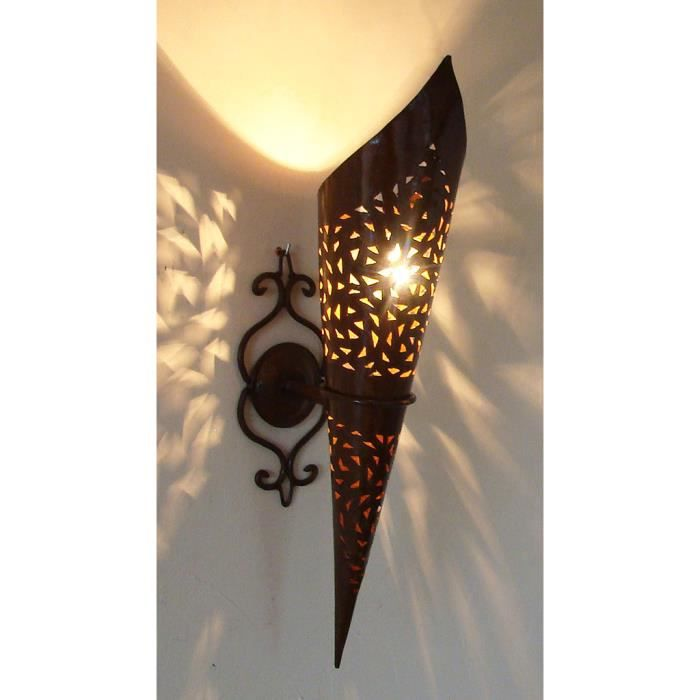 applique lampe torche marocaine 50cm fer forg lanterne maroc lustre bougeoir achat vente. Black Bedroom Furniture Sets. Home Design Ideas