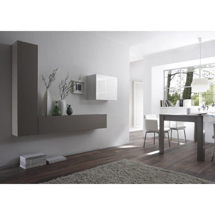 ensemble meubles muraux blanc et gris lisa achat vente. Black Bedroom Furniture Sets. Home Design Ideas